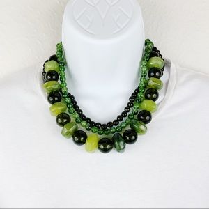 Vintage Green Beaded Layered Statement Necklace